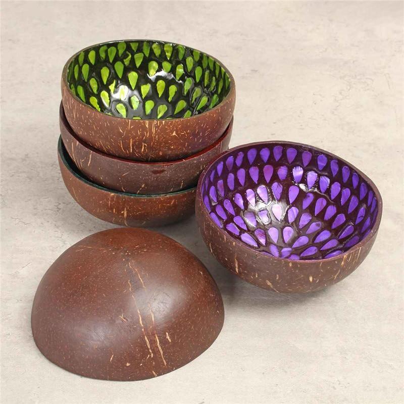 Cuenco de cáscara de coco Natural colorido, cuenco redondo de cocina ecológico, Bol para arroz o sopa, vajilla de cocina casera hecha con planta Natural