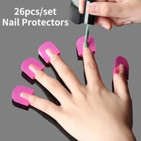 26pcsset 10 sizes nail protectors varnish shield g curve shape finger cover spill proof french stickers manicure nail tools