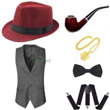 Accessoire de fête 1920s hommes Gatsby Gangster gilet Costume accessoires ensemble chapeau jarretelle nœud papillon Cosplay Costumes