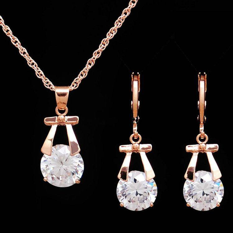 TSHOU224-طقم أقراط من الكريستال ، مجوهرات الزفاف ، قلادة القوس ، رابط هدية للمشتري