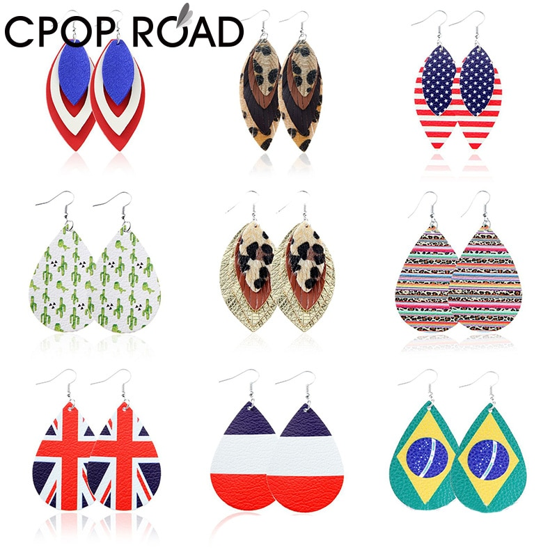 Pendientes de cuero de imitación de leopardo de la bandera estadounidense Cpop para mujeres, pendientes colgantes de balón de fútbol, accesorios de joyería de moda
