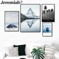 modern natural landscape canvas poster simple mountain peak tree boat lake painting wall art nordic living room decoration
