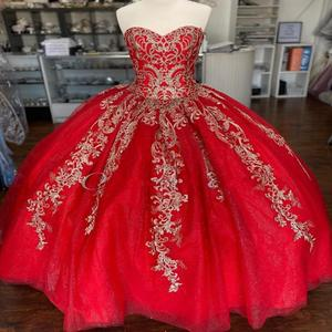 Gold/Red vestidos de 15 años 2020 Ballgown Puffy Lace Sequin Quinceanera Dress Sweetheart Sweet 15 Dress Long Prom Gowns Lace Up