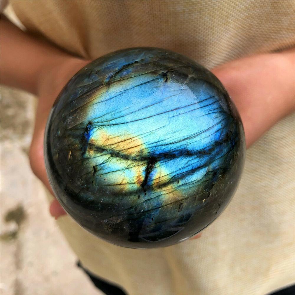 Labradorite natural quartzo luar bola de cristal pedra cura