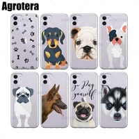 agrotera pomsky puppy pug life pugs puppy love rottweiler clear tpu case cover for iphone 6 6s 7 8 plus x xs xr 11pro max 12mini
