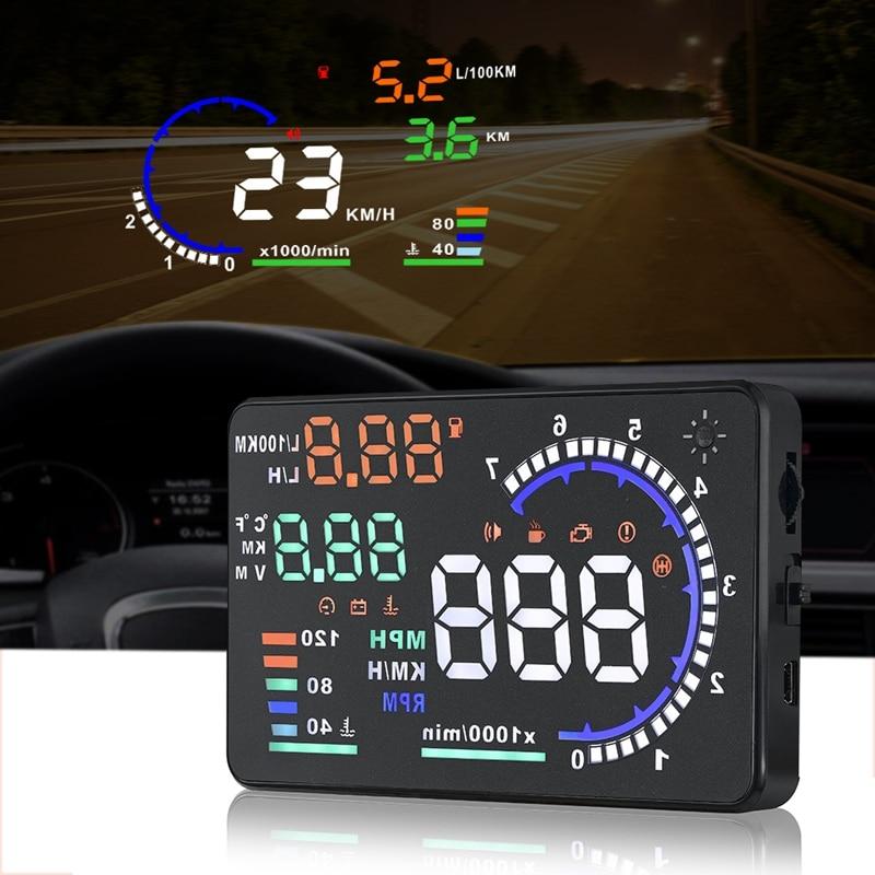 Lisídic 5.5 polegada obd2 carro pára-brisa hud cabeça up display com velocidade fadiga aviso rpm mph consumo de combustível carro assessoires