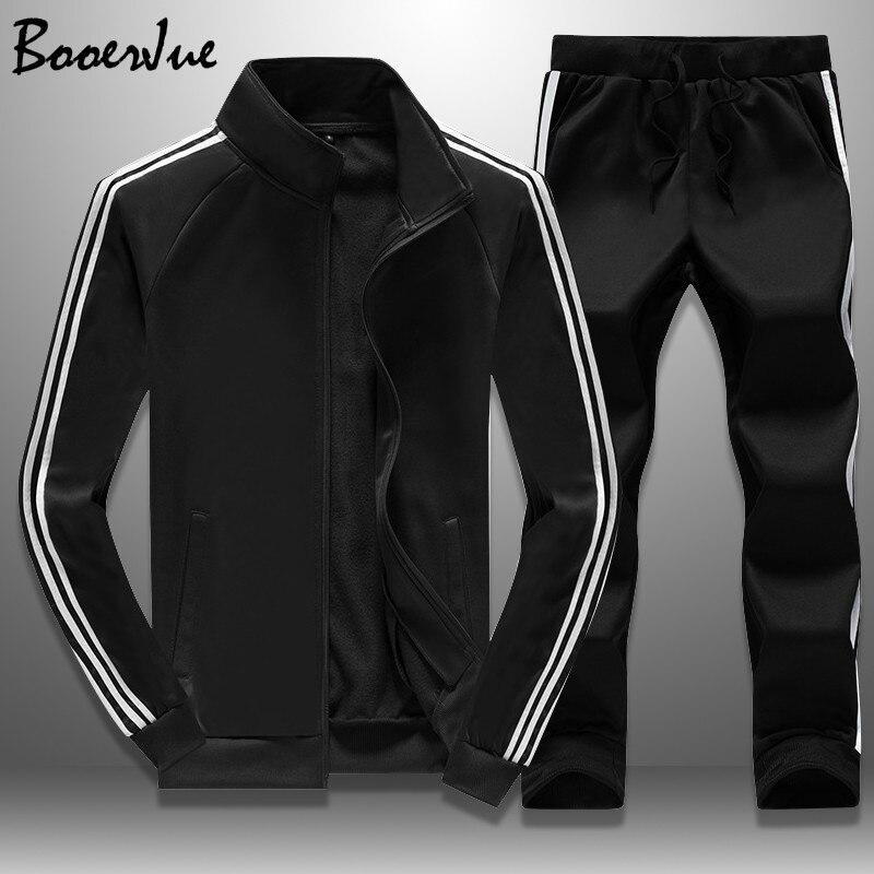Casual chándal hombres otoño cremallera chaquetas + Pantalones 2 piezas conjuntos ropa deportiva para hombre chándal ajustado traje deportivo moda M-4XL