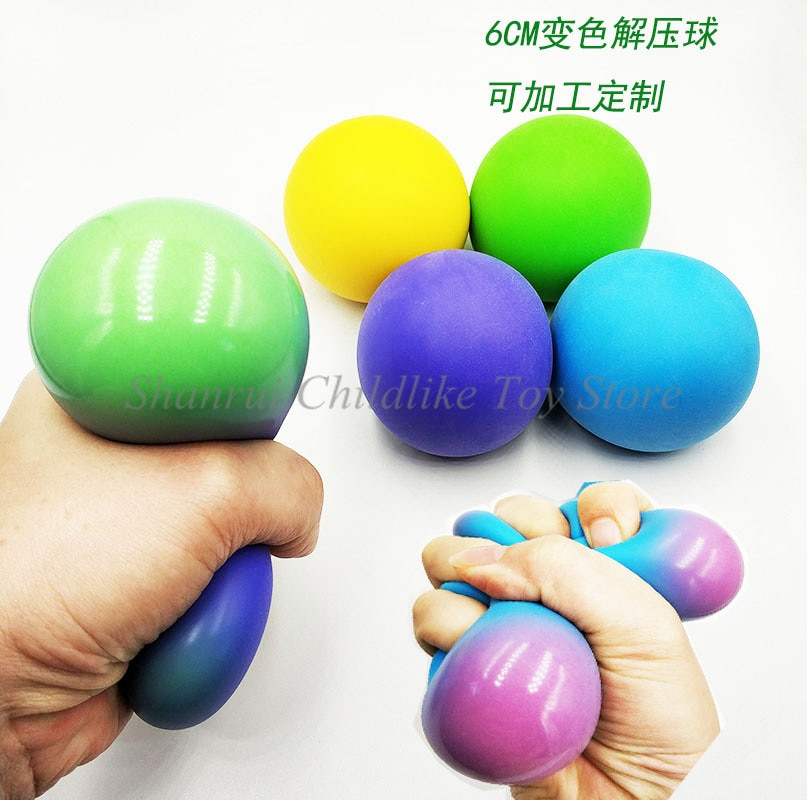 60mm Stress Relief Balls for Kids and Adults Anti Stress Ball Color Changing Tear-Resistant Non-Toxic BPA Free Soft Stretchy Toy enlarge