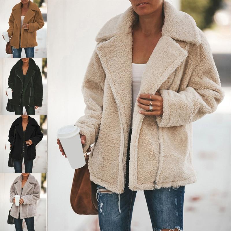 Winter Plüsch Mantel Jacke Frau Dicke Warme Revers Lange Sleeve Zipper Flauschigen Gefälschte Pelz Jacken Weibliche Mode Plus Größe Mantel