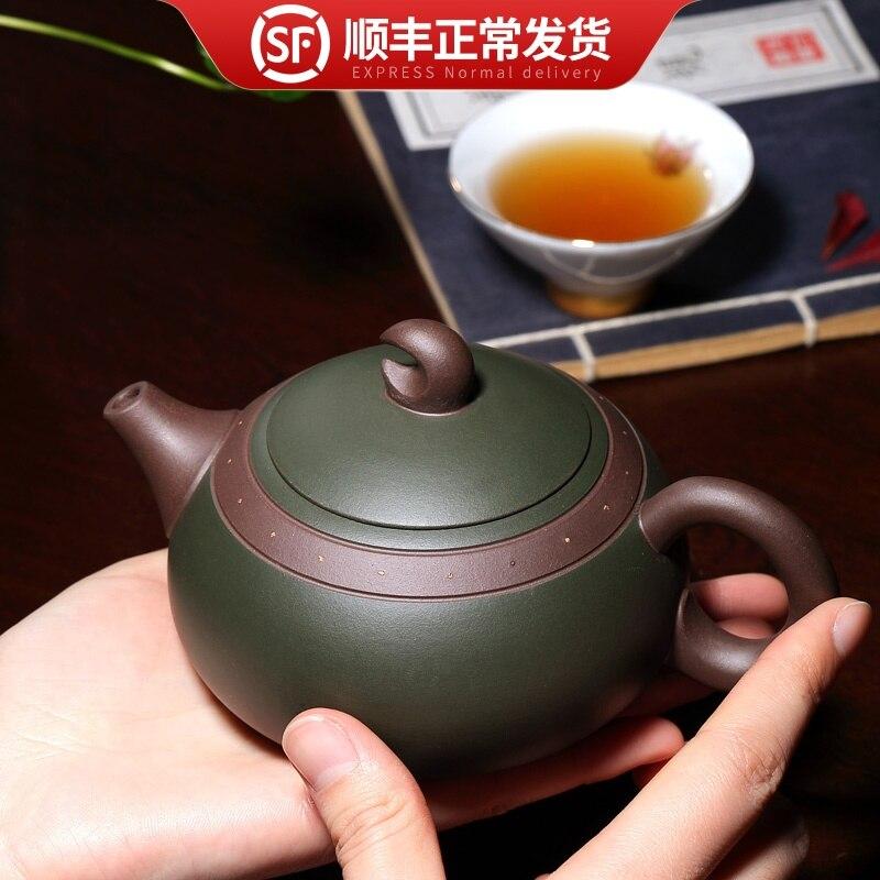 famous Yixing master Zisha pot pure handmade Xishi authentic original mine green mud all handmade household teapot