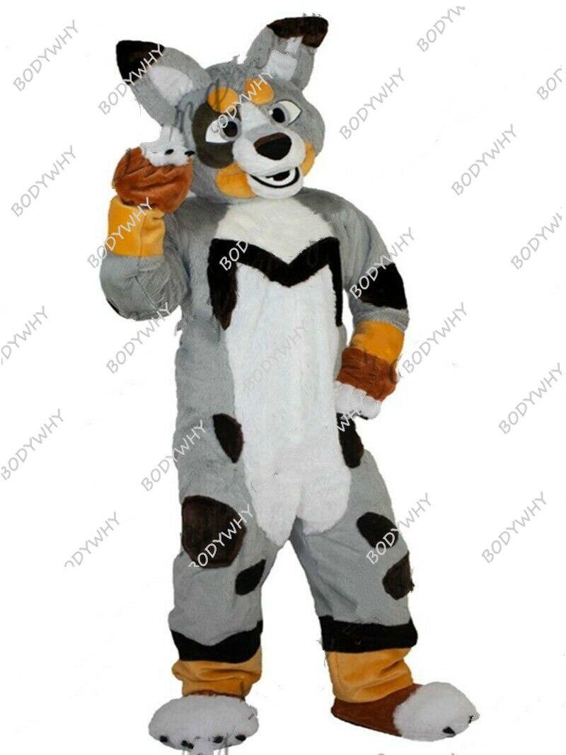 Longa Pele Husky Raposa Mascote Traje Cosplay Animal Fantasia Vestido Desfile Fursuit Peludo Publicidade Parade Adultos Outfits Cão