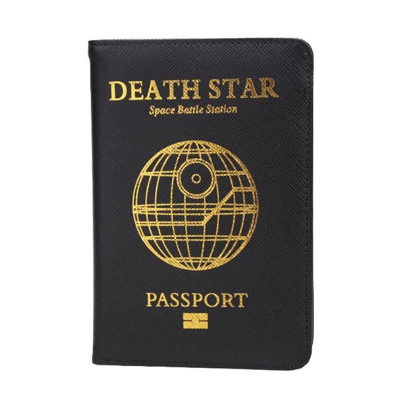 Dikedaku planeta death star passaporte titular dos homens rfid cruz padrão capa de passaporte de couro do plutônio cartões de crédito caso de passaporte de viagem