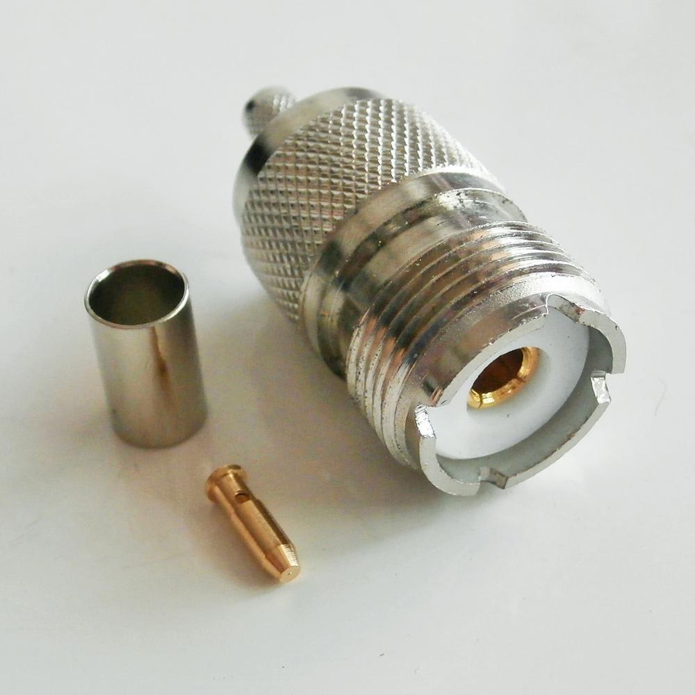 Conector soquete pl259 so239 uhf fêmea 4 serra friso para rg58 rg142 rg223 rg400 lmr195 cabo de bronze rf adaptadores coaxiais