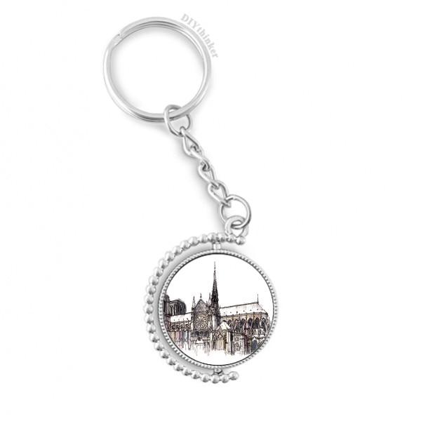 Notre-Dame de in Paris France Rotatable Key Chain Ring Keyholder