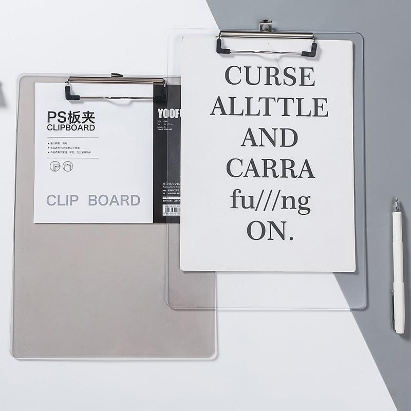 Portapapeles de plástico PS A4, Bloc de escritura multifuncional, tablero de menú PP, carpeta Vertical, Clip de informe de placa de escritura de tableta de oficina