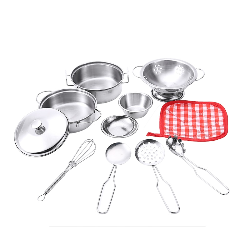 11pcs kids pretend play house kitchen toys set stainless steel cooking pots pretend cook play toy simulation kitchen cooking toy 10pcs Simulation Stainless Steel Kitchen Cooking Pots Pans Kids Cookware Tableware Toys Set Pretend Cook Play Toy Simulation Kit
