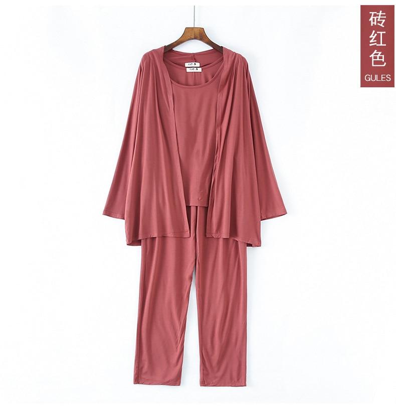 Fdfklak Modal Pink Pyjama Maternity Clothes For Pregnant Spring Summer New 3 Pieces Pregnancy Pijama 5 Colors Sleepwear enlarge