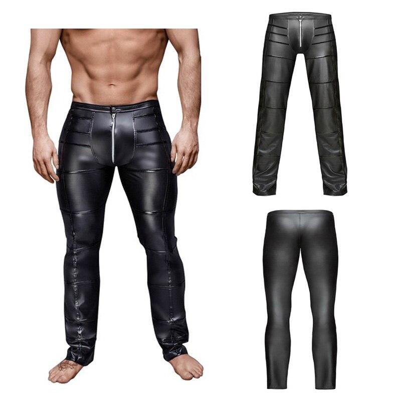 Pantalones para hombre de piel sintética con cremallera y entrepierna abierta, pantalones tipo lápiz Wetlook Broek Fitness, ropa casual para motos Gay, lencería de látex, Leggings