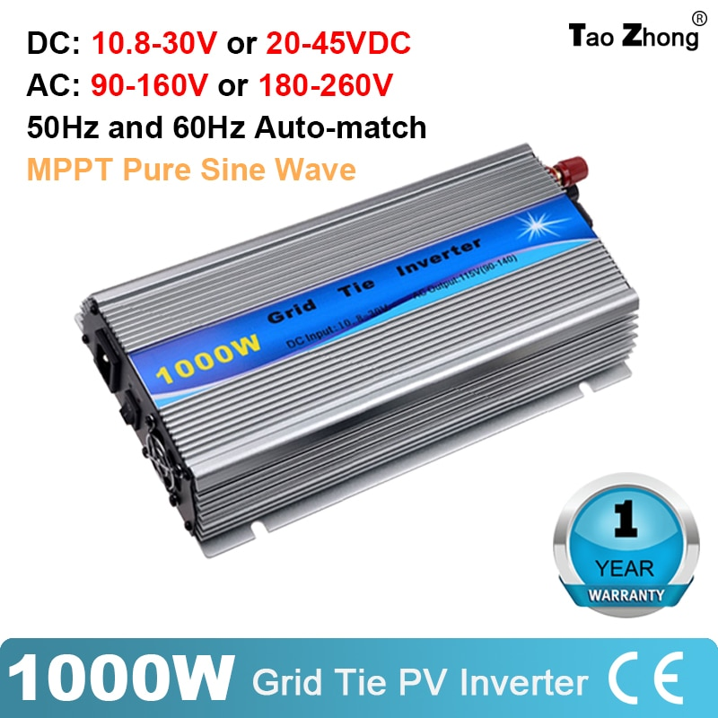 1000 واط شبكة التعادل الشمسية العاكس MPPT نقية شرط موجة مايكرو Inversor DC30-45V PV المدخلات AC120V/220 فولت لنظام لوحة طاقة شمسية 24 فولت المنزل