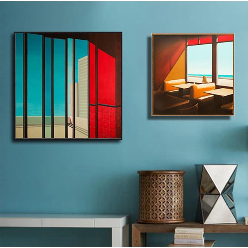 YUMEART coloridos paisajes arquitectónicos nórdico lienzo póster pintura escandinavo decorativo imagen sala de estar decoración del hogar