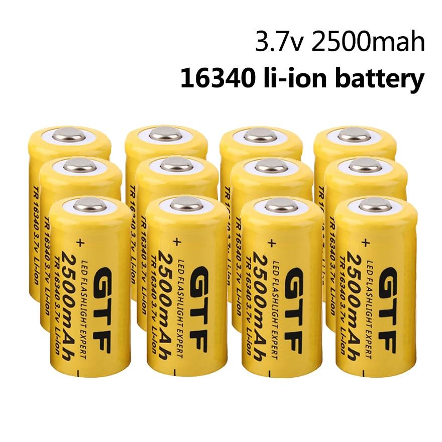 2-20pcs 3.7V 2500mAh 16340 Rechargeable Lithium Battery CR123A 16340 Li-ion Battery for Laser Pen LED Flashlight Headlamp Cell