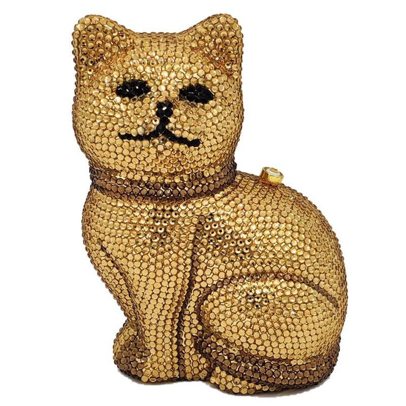 Bolsos para mujeres encantadores gatos 3D mujeres Golden Crystal Minaudiere Clutch Animal Evening Bags Ladies Formal Dinner bolso y bolso