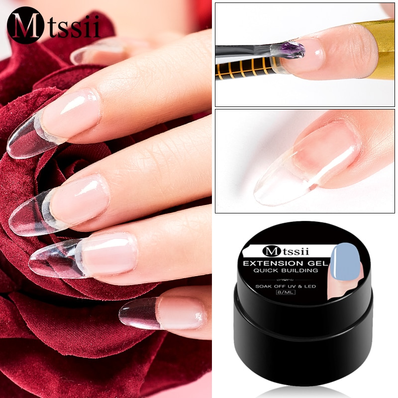 Mtssii 8ml Quick Extension Poly UV Gel Crystal Jelly Finger Building Tips Hard Acrylic Soak Off Nail Slip Solution