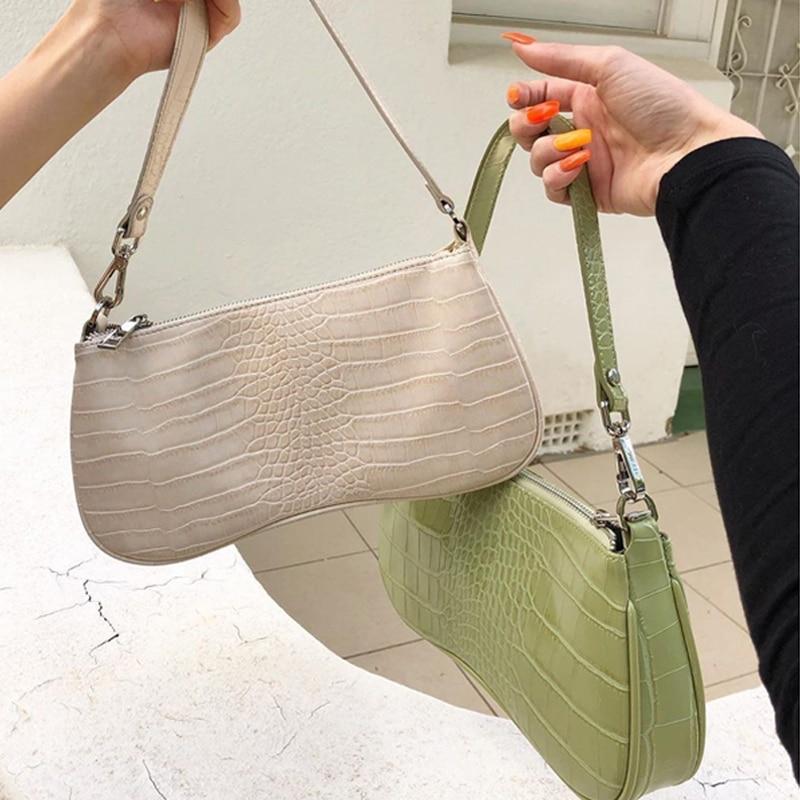 Vintage Alligator Women Shoulder Bags Designer Baguettes Shape Handbags Retro Luxury Messenger Bag Lady Small Saddle Purses 2020