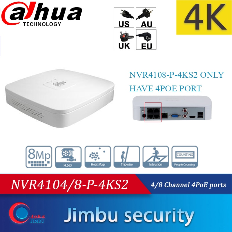 داهوا مسجل فيديو NVR 4K NVR4104-P-4KS2/L 4CH NVR4108-P-4KS2 8CH 8 قناة IP فيديو الوصول cctv لايت شبكة مسجل فيديو