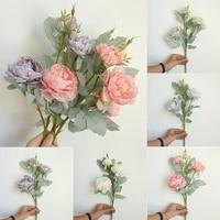 Pivoines artificielles multicolores en plastique  fausses fleurs  pour decoration de jardin  de mariage  en soie  pour la maison