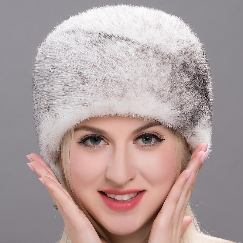 Winter Import Mink Fur Lady Whole Mink Warm Ear Cap Cross Windproof and Warm Keeping Simple Barrel Beret Mushroom Hat