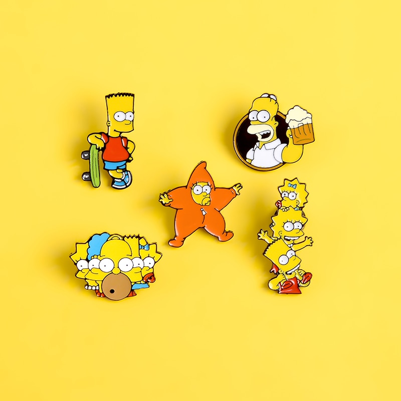 Cartoon Pin Funny cute The Yellow animal star baby enamel Pins and Brooches Clothes jackets bag Lape