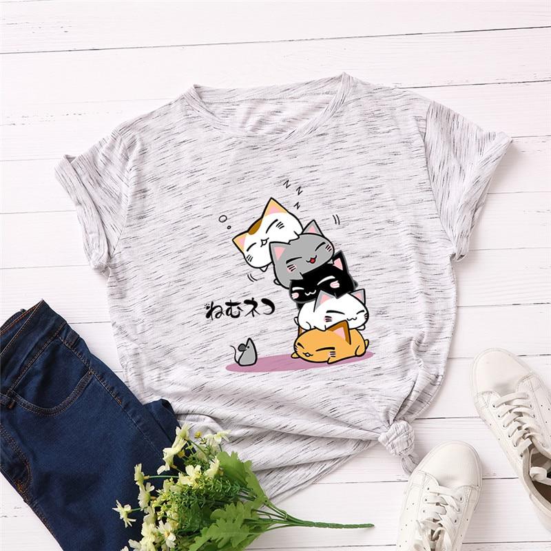 Nueva camiseta de talla grande S-5XL con estampado de letras de gato encantador para mujer, camiseta de verano de manga corta con cuello redondo de algodón 100% para mujer, camiseta informal