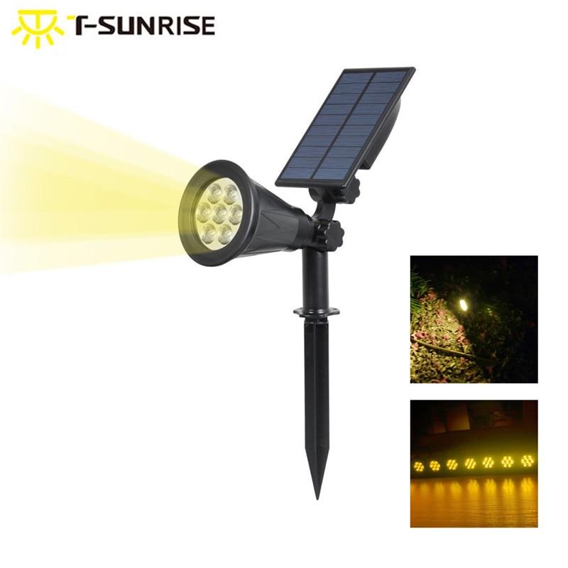 T-SUNRISE مقاوم للماء 7 المصابيح تعمل بالطاقة الشمسية ضوء في الهواء الطلق مصباح إضاءة حديقة المناظر الطبيعية الجدار الخفيفة 3000K الأبيض الدافئ