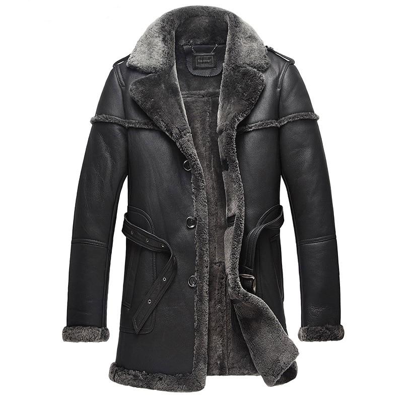 Fur Natural Sheep Shearling Jacket Winter Genuine Leather Jacket Men Sheepskin Real Fur Coat Men Clothes 2021 B578