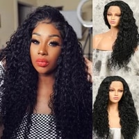 long curly synthetic lace front wig for black women black 1b color long straight hair wigs side part heat resistant