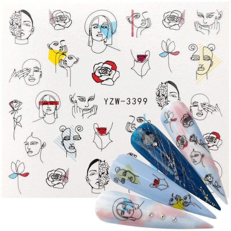 Красочная абстрактная наклейка для ногтей, черная линия, новый дизайн 2020, Переводные картинки для сексуальных девушек, слайдер для нейл-арт...