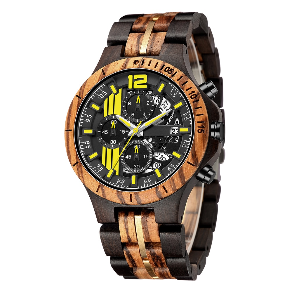 Wood Bamboo Watches For Men Natural Sandal Wood Men Sport Watches Wooden Wristwatch Wood Strap Quartz Mens Chronograph Relogio fashion eco friendly red sandal wood health watches uwood brand wooden watch japan quartz wristwatch for mens women lover best g