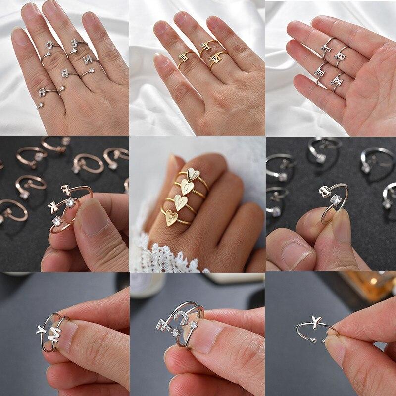 Anillo de cobre de circón 26 letras para hombres Simple europeo y americano estilo clásico oro blanco encanto de la personalidad anillo de apertura