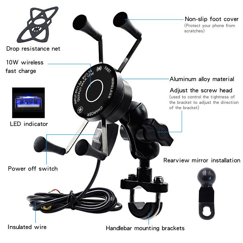 اللاسلكية دراجة نارية دراجة الهاتف المحمول حامل مع USB شاحن للماء QC3.0 سريع شحن قوس دعم موتو الهاتف حامل