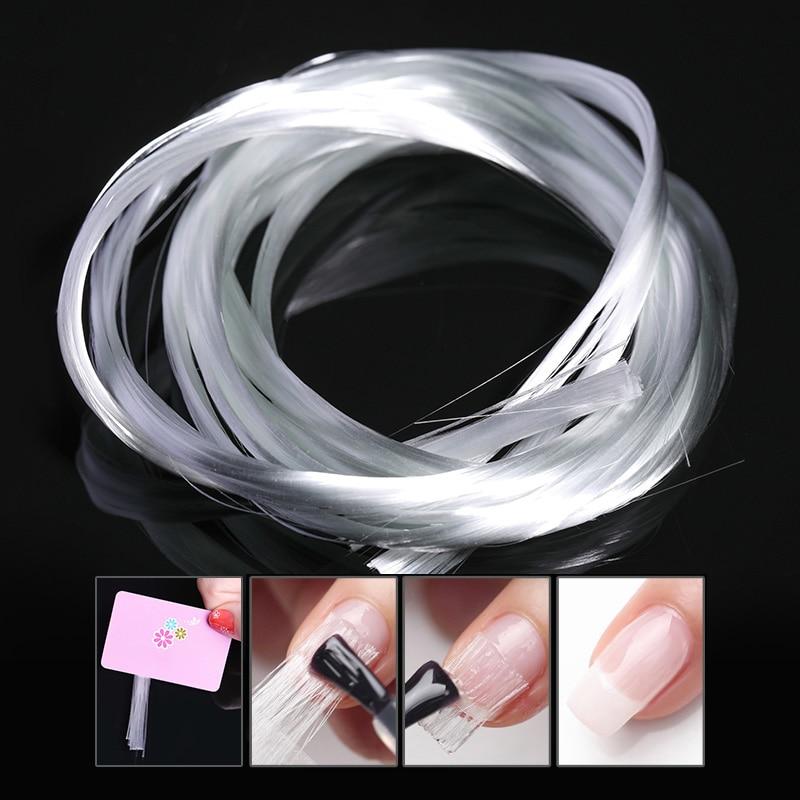 1m/1.5m/2m Nail Art Fiberglass for UV Gel DIY Nails White Acrylic Nail Extension Tips With Scraper DIY Nail Spa Tool