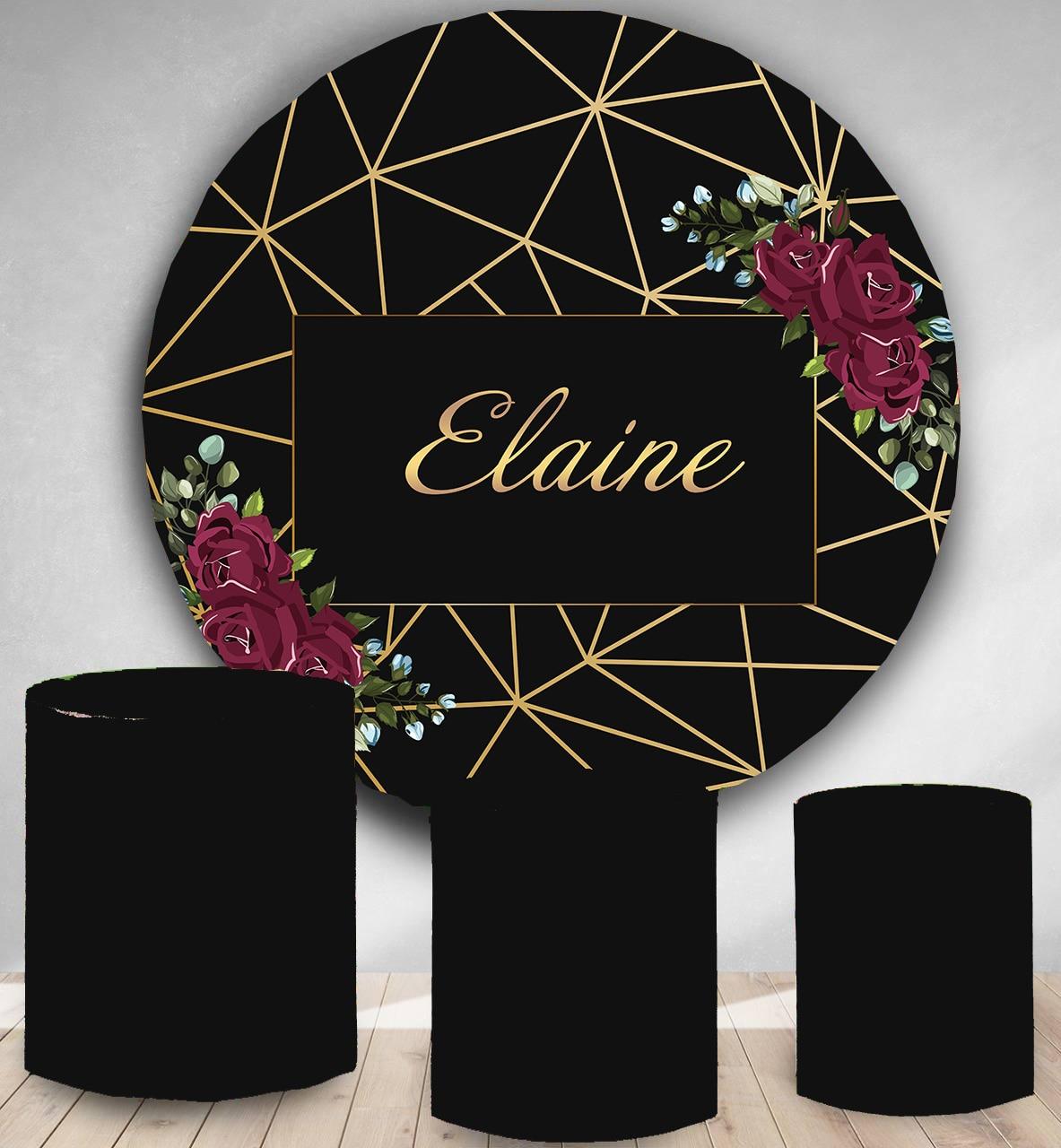 Kreis hintergrund runde fotografie hintergrund hochzeit blume braut dusche schwarz goldene linie süßigkeiten tisch banner party dekoration