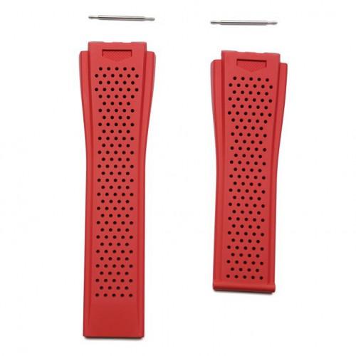Ceinture caoutchouc rouge perforée FT6050 TAG Heuer Carrera Heuer 01 45mm