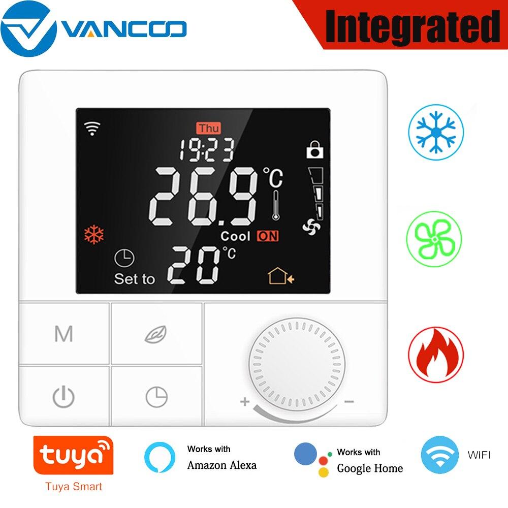 تويا واي فاي الذكية متحكم في درجة الحرارة المتكاملة ترموستات مروحة لفائف الأرضيات التدفئة صوت LCD شاشة ديجيتال شاشة تعمل باللمس