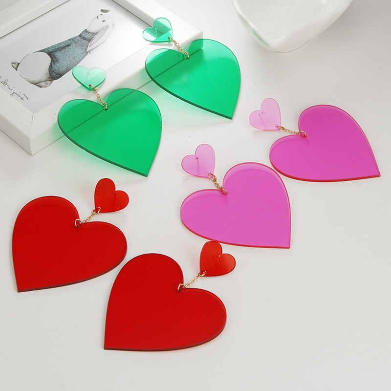AliExpress - Exaggerated Punk Neon Red Pink Heart Drop Earrings Geometric Big Personality Long Dangle Earring Brincos Party Nightclub Jewelry