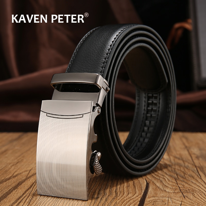 Genuine Cow Leather Automatic Belt For Men Formal Automatic Belt Buckle Genuine Leather Mens With Litchi Pattern Strap fashionable rhombic pattern buckle faux leather belt for men