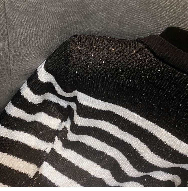 Shiny Sequined Cardigan Women Spring Autumn New Black and White Striped Buckle Knitted Jacket Short Coat Femme enlarge