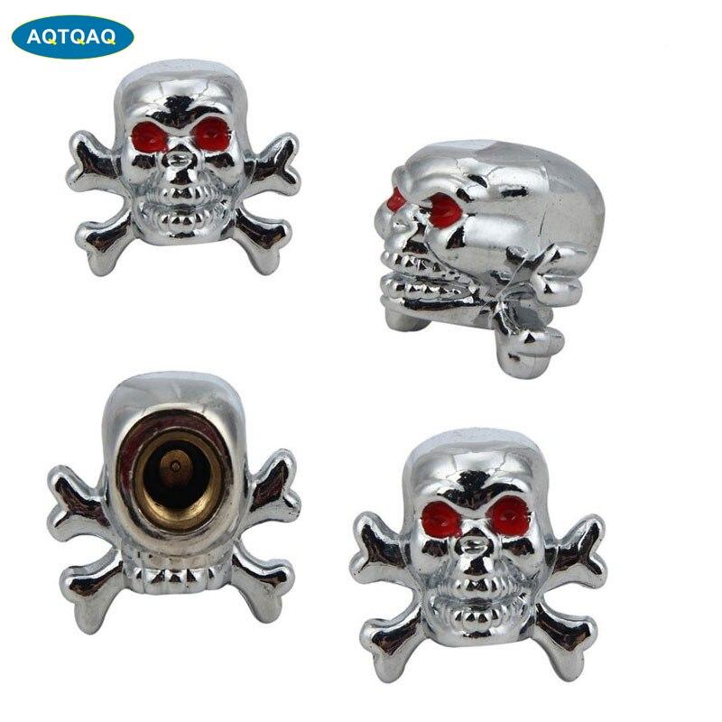 4Pcs/Lot Copper Core Chrome Skull Antirust Copper Core Motorcycle Bike Car Tires Valve Stem Caps