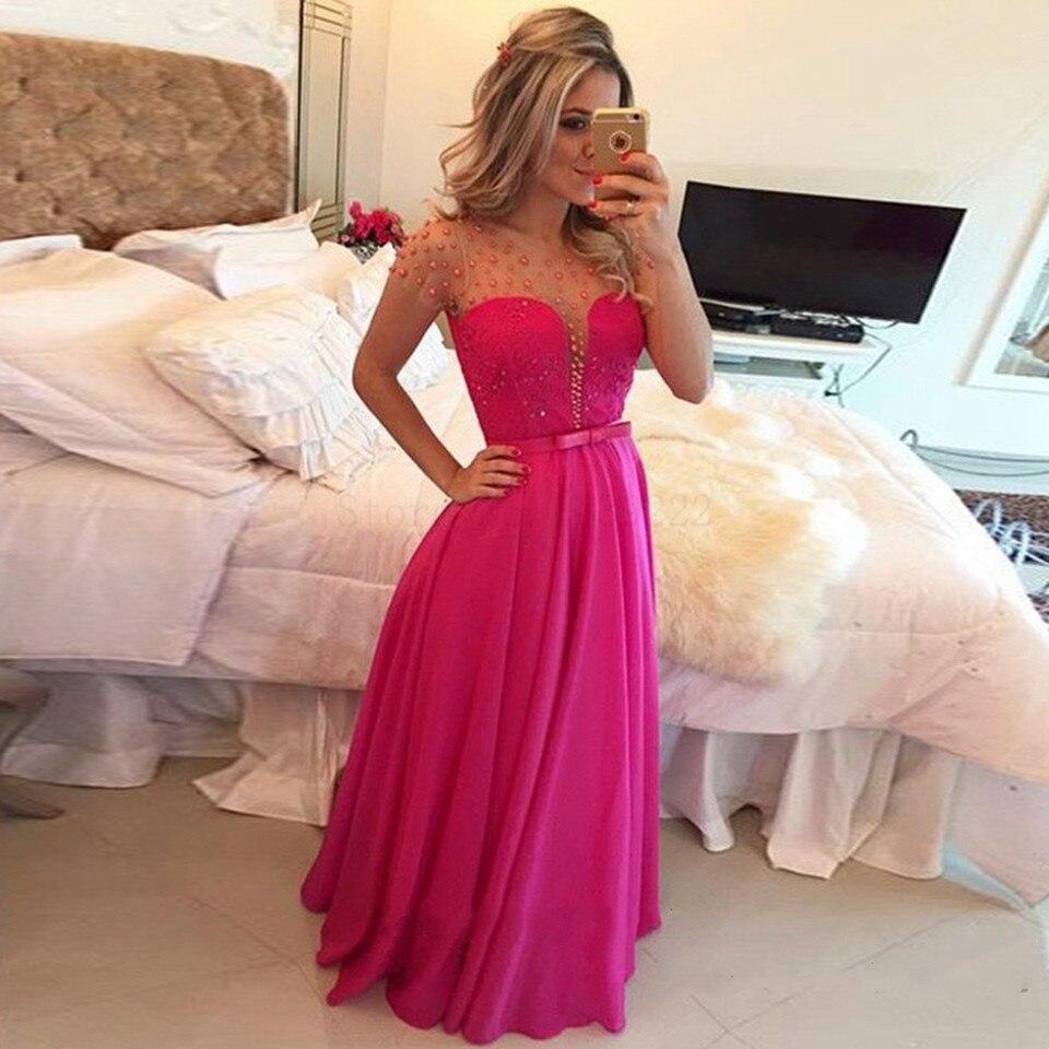 Fushcia иллюзионные Выпускные платья 2022 женские элегантные вечерние длинные вечерние платья для вечеринки с бисером жемчугом платья