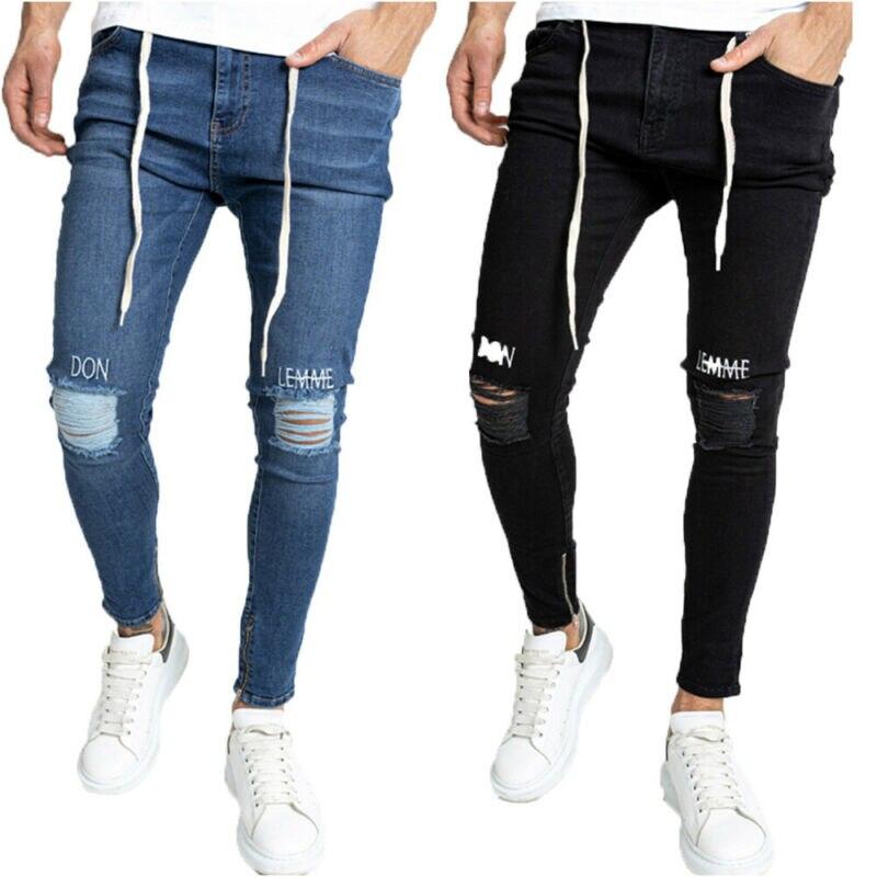 Мужские зауженные рваные джинсы, облегающие Стрейчевые джинсовые брюки, потертые байкерские брюки
